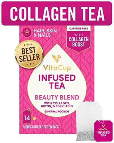 VitaCup Beauty Blend Infused Tea 14 ct  Keto Paleo  Jasmine Herbal Rooibos Caffeine Free Tea with Collagen Types I & III, Biotin (B7) & Methylfolate (B9) Helps Support Healthy Hair, Skin & Nails