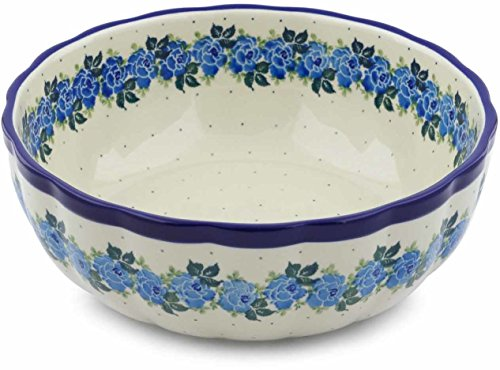 Polish Pottery 11-inch Bowl made by Ceramika Artystyczna (Blue Garland Theme) + Certificate of Authenticity