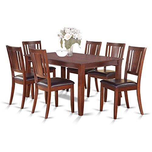 East West Furniture DULE7-MAH-LC 7Piece Dining Table Set-Dinette Table & 6 Kitchen Dining Chairs