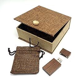 LONMAX Walnut Wooden USB Flash Drives 32GB with Cloth Gift Box USB Flash Disk for Gift (32GB, Walnut+Linen)