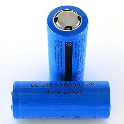 SmartLive 2pcs pack 3.7V 26650 6000mah Rechargeable Lithium Battery Blue