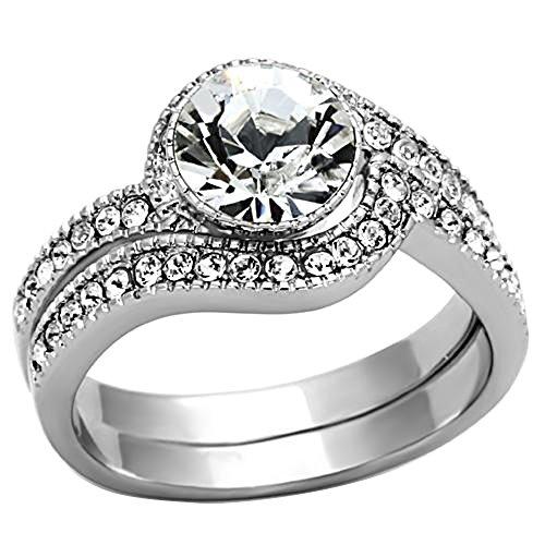 Eternal Set Swirls Jewelry - Silver Stainless Steel White Round Cubic Zirconia CZ Swirl Design Women Wedding Engagement Ring TKJ