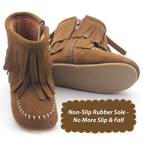 Genuine Suede Toddler Double Fringe Leather Boots (Fawn Brown) (Size 10) - Girls Fringed Boots