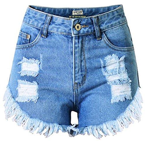 Chouyatou Women's Fashion High-Rise Fringe Boyfriend Destroyed Denim Shorts (10, Blue)