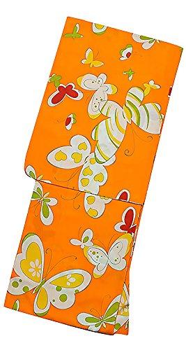 申請中酸化物お世話になった[ KIMONOMACHI ] オリジナル 浴衣、帯の浴衣2点セット 「オレンジ 蝶々」 LL