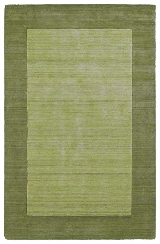 Handmade Rug, Celery Solid Wool Border Rug Transitional Modern Living Room Dining Room Carpet, 8×10 [8′ X 10′]