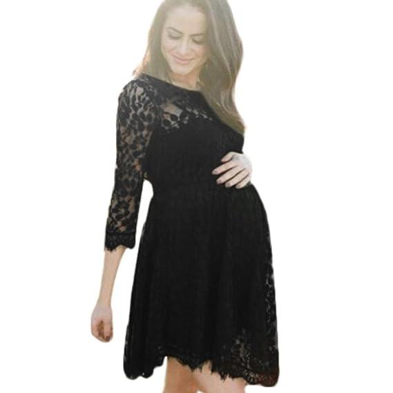 BBsmile Premamá bañador Mujer Embarazada Gasa Larga Vestido de Maternidad Split Vista Delantera Foto Shoot Dress