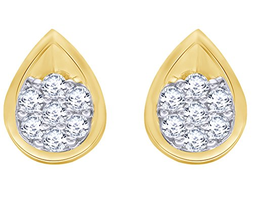 3/8 CT Round Cut White Natural Diamond Flower Cluster Teardrop Stud Earrings in 10K Solid Gold (0.37 Cttw) by Wishrocks