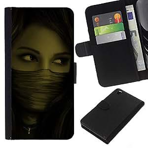 Planetar® Modelo colorido cuero carpeta tirón caso cubierta piel Holster Funda protección Para HTC DESIRE 816 ( Woman Mysterious Ninja )