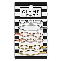 Gimme Barrettes Designer Shapes, Metallics 6pc