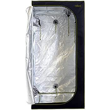 """MILLIARD Horticulture D-Door 36"""" x 36"""" x 73"""" 100% Reflective Mylar Hydroponic Grow Tent with Window, Great for Indoor Planting and Early Seedling Starters"""