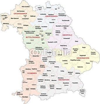 Poster Bild 80 X 80 Cm Bayern Regierungsbezirke Landkreise