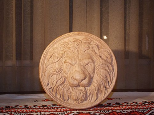 (Lion Head Carving Wood furniture appliques Furniture Onlay Wood rosette wood carvings wood wall art Round)