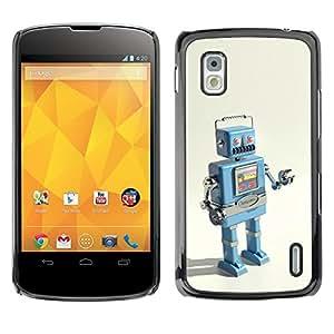 Qstar Arte & diseño plástico duro Fundas Cover Cubre Hard Case Cover para LG Google NEXUS 4 / Mako / E960 ( Robot Ai Technology It Machine Drawing)