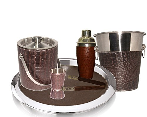 King International Stainless Steel Pure Leather Bar Set Set of 6 Pieces Ice Bucket,Tong,Cocktail Shaker,Jigger,Bar Tray,Wine Cooler by King International