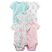 Carter's Baby Girls 5 Pack Bodysuit Set, Flowers, 3 Months