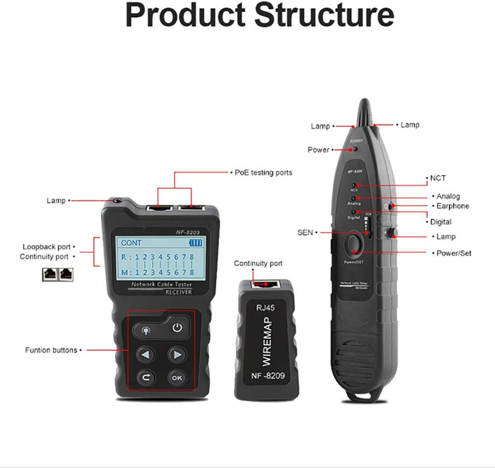 Network Cable Tester Kecheer Multi-Functional LCD Wire Tracker Detector PoE Checker Inline PoE Voltage and Current Tester with Illuminate Function