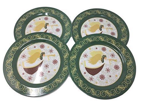 Christmas Melamine Plate Set of 4 - Poinsettia, Santa, Snowman or Angel (Angel Snowman)