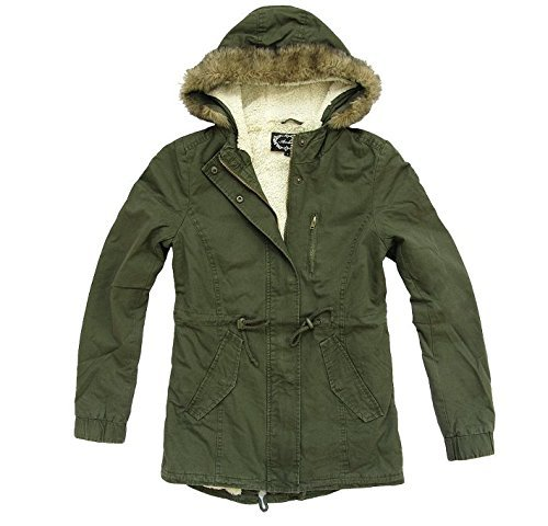 Ambiance Women's Military Army Hooded Sherpa Lining Drawstring Parka Jacket Coat (Medium)