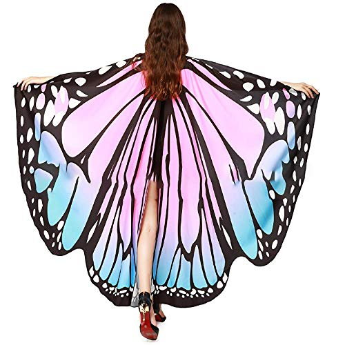 Bagood Halloween Party Show Ladies Soft Fabric Butterfly Wings Shawl Fairy Nymph Pixie Costume Accessory Blue&Pink -