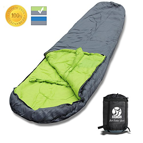 BOS Portable Mummy Sleeping Bag- Ultralight Waterproof Camping Sleeping Bag with Compression Sack for 4 Season Traveling and Outdoor Activities- Large Sleeping Bag for Adults up 7'2-Grey&Left-Zip