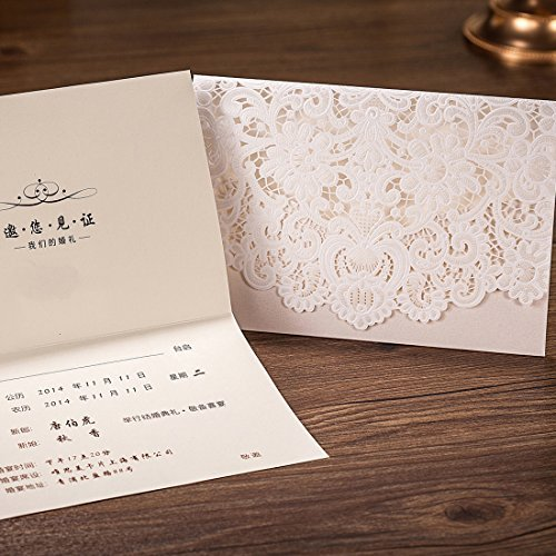 WISHMADE 50pcs Ivory Lace Horizontal Wedding Invitation Cardstock With  Laser Cut Embossed Hollow Flora Card For Marriage Party Favors And  Envelopes Seals ...