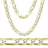 """Two Tone 18k Gold Plated over .925 Italian Sterling Silver 4.5mm FLAT LONG FIGARO Diamond-Cut Link 16"""" 18"""" 20"""" 24"""" 26"""" Chain Necklace"""