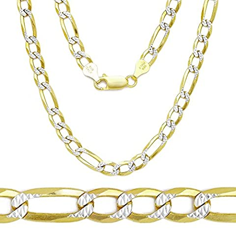 Two Tone 18k Gold Plated over .925 Italian Sterling Silver FIGARO Diamond-Cut Chain Necklace (18 (Men Gold Over Silver Chain)