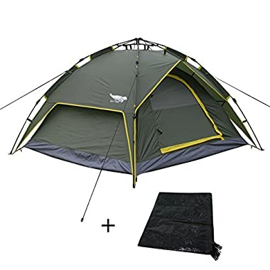 Luxetempo 2-3 Person Automatic Instant Family Camping Tent with Rainfly-Water Resistant Easy Set Up Green(Footprint as a gift)