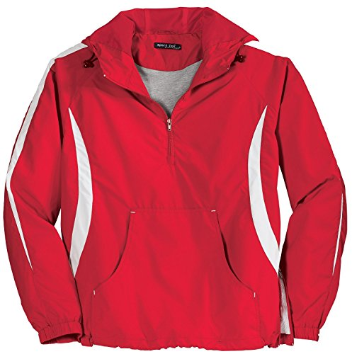 - Sport Tek Colorblock Raglan Anorak-4XL (True Red/White)