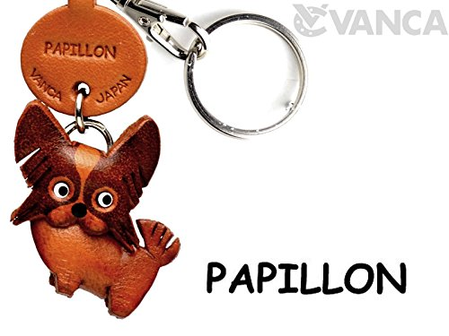 Keychains Dog Leather (Papillon Leather Dog Small Keychain VANCA CRAFT-Collectible Keyring Charm Pendant Made in Japan)
