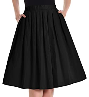 82a500d2fa8fe1 Yige Women's Vintage A-line Printed Pleated Flared Skirts with Pocket