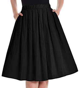 ef56628ed31f Yige Women's Vintage A-line Printed Pleated Flared Skirts for Women Black-XS
