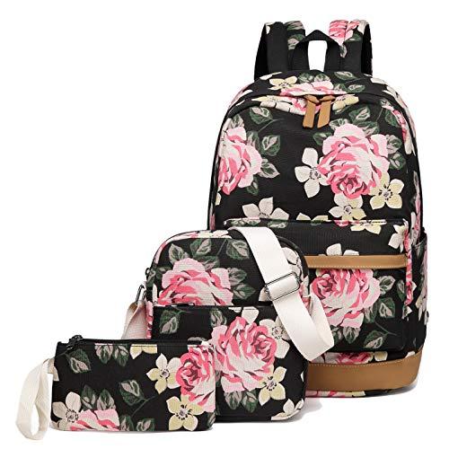 School Backpack for Girls Canvas School Bag Laptop Backpack Teens Bookbags Set (Black- Flower)