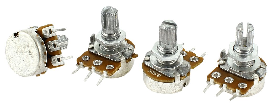 Sourcingmap a14071400ux0685 4 Pcs Single Linear Knurled Shaft Control Volume Potentiometers 50K Ohm WH148 Silver