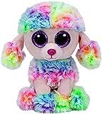 TY 37223 - Glubschi's Beanie Boo's Rainbow Pudel mit Glitzeraugen, 15 cm, mehrfarbig