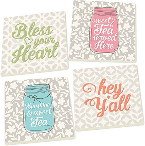 - Southern Phrases Bless Your Heart on Patterns 4 Piece Square Ceramic Coaster Set