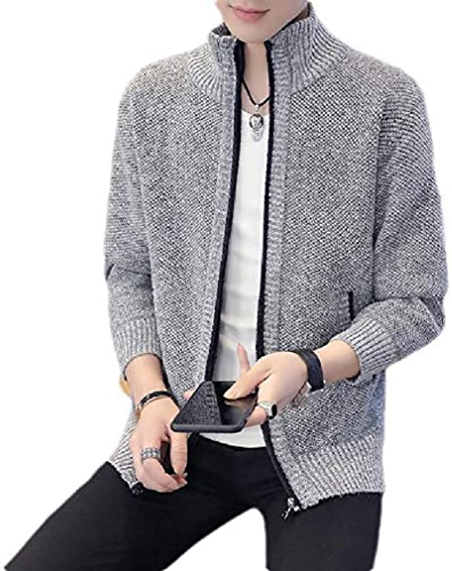 Yisism Men Slim Fit Stand Collar Knit Solid Thick Open Front Cardigan: Odzież