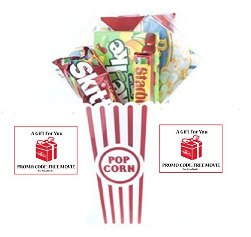 Movie Night Popcorn and Candy Gift Basket Plus 2 Free Redbox Movie Rentals ~ Includes Movie Theater Butter Popcorn and Concession Stand Candy and a Gift Card for 2 Redbox Movie Rentals (Mike and Ikes)