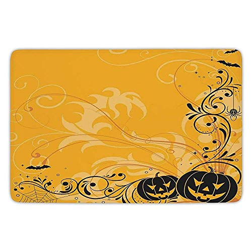 K0k2t0 Bathroom Bath Rug Kitchen Floor Mat Carpet,Halloween Decorations,Carved Pumpkins Floral Patterns Bats Webs Horror Artwork,Orange Black,Flannel Microfiber Non-Slip Soft -