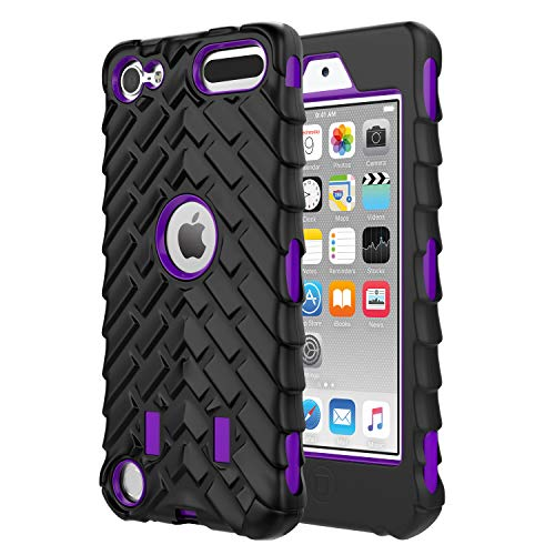 MoKo Case for iPod Touch 6 / iPod Touch 5, 3 in 1 Heavy Duty Shock Absorbing Hybrid Bumper Protective Case Cover for Apple iPod Touch 6th / 5th Generation, Purple - Player Protective Cover