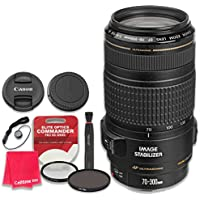 Canon EF 70–300mm f/4–5.6 IS USM Lens with Elite Optics Commander Pro HD Series Ultra-Violet Protector UV Filter & Circular Polarizer CPL Multi-Coated Filter - International Version