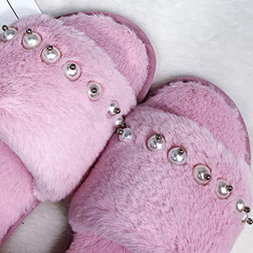 Fashion Hair Brown Pantoufles Flat Cotton Td Maison Automne Pearl Pink Et 39yards Simple Hiver Femme couleur La Peluche Slipper Taille À 17qqtwF