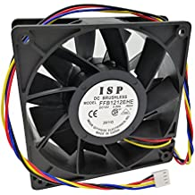 120mm PWM Case Fan Replacement for Bitmain Antminer S3 S5 S5+ S7 S9 T9 L3+, 190CFM, Dual Ball Bearing, 4-Wire 4-Pin Connector (Model: FFB1212EHE)