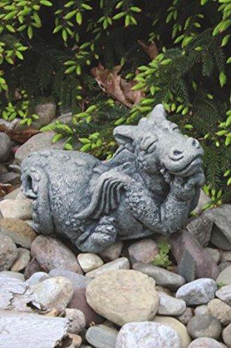 Henri Cast Stone - Little Darling Dragon Baby 'Dreamer' - Solid Cast Stone Garden Statue - a Great Home or Garden Gift Idea - Durable, Lifelike Sculpture - Fun Exterior and Interior Art