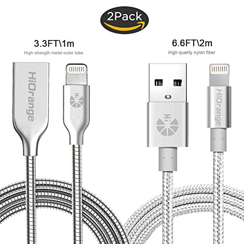 Charging Cable,HiOrange [2-pack] 3.3FT Metal Cord iPhone Charger Lightning Cable and 6.6 FT Nylon Braided Cord for iPhone 7,7 Plus,6S, 6S Plus, 6,6 Plus,SE,5S,5C, 5, iPad, Nano 7-Silver Braided Metal