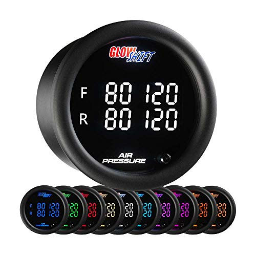 - GlowShift 10 Color Digital 200 PSI Quad Air Pressure Gauge Kit - Includes Electronic Sensors - Multi-Color LED Display - Tinted Lens - for Air Ride Suspension - 2-1/16