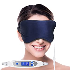 USB Heated Eye Mask,Silk Steam Eye Mask for Relieve Eye Stress and Puffy Eyes, Warm Therapeutic Treatment for Dry Eye, Eye Fatigue,Improve Blood Circulation of your eyes (Dark Blue)