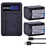 Batmax 2Packs Battery(3000mAh) + LCD USB Charger for Sony NP-FH70 H Series Sony NP-FH30,NP-FH40,NP-FH50,FH60,FH70,NP-FH90,NPFH100 Batteries;Sony Handy Cam DCR-DVD850 SX40 SX41 SX60 HDR-CX100 TG5 CX500