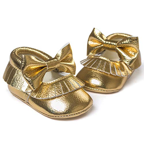 C&H Unisex Infant Baby Boys Girls Leather Soft Sole Tassel Bowknot Anti-Slip Prewalker Crib Shoes(0-2 Years) (12cm/4.76in(6-12months), Gold) (Soft Leather Footwear Gold)